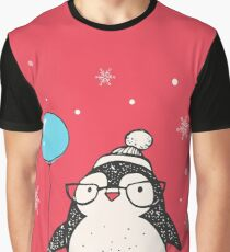 Christmas Penguin Balloon Graphic T-Shirt