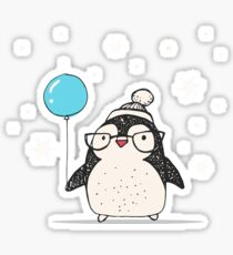Christmas Penguin Balloon Sticker