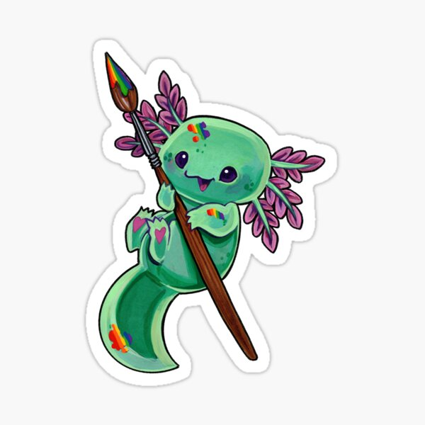 Rainbow axolotl Sticker