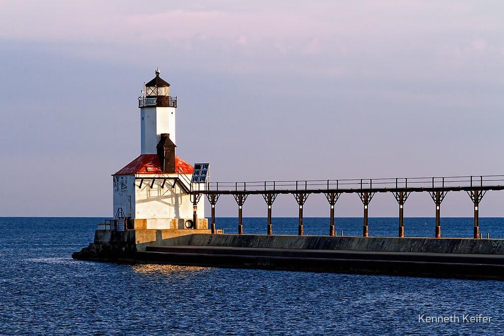 Michigan City, Indiana Light at Dawn by Kenneth Keifer