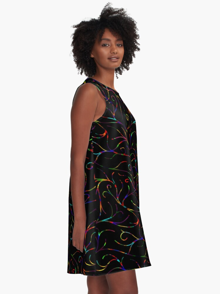 Alternate view of Black Velvet, Rainbow Vines A-Line Dress