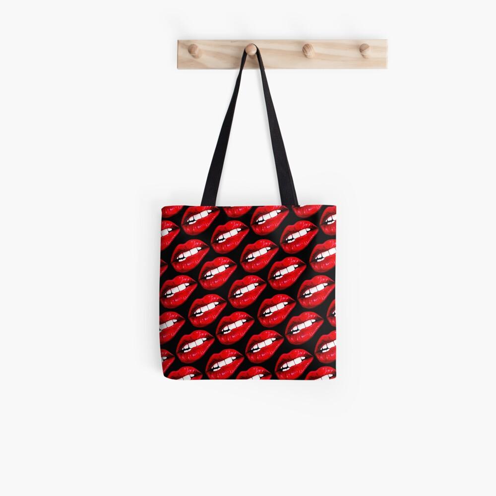 Lip Pattern - Black Tote Bag