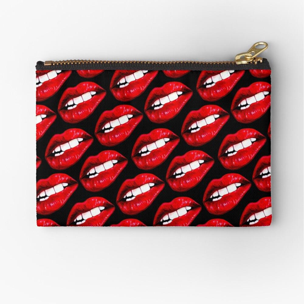 Lip Pattern - Black Zipper Pouch