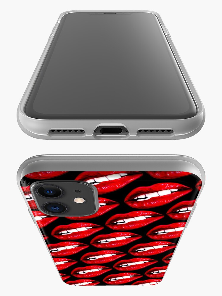 Alternate view of Lip Pattern - Black iPhone Case & Cover