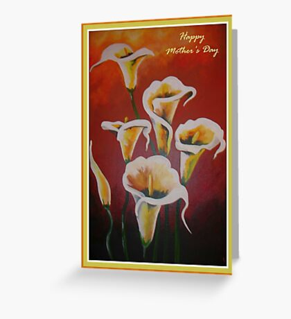 White Calla Lilies Happy Mother's Day Greetings Greeting Card