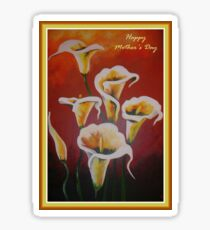 White Calla Lilies Happy Mother's Day Greetings Sticker