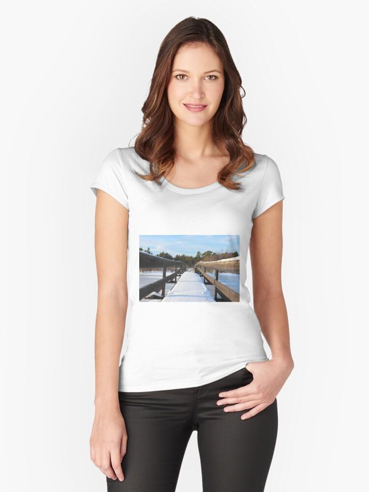 The Herrestadsjön bridge I Women's Fitted Scoop T-Shirt Front