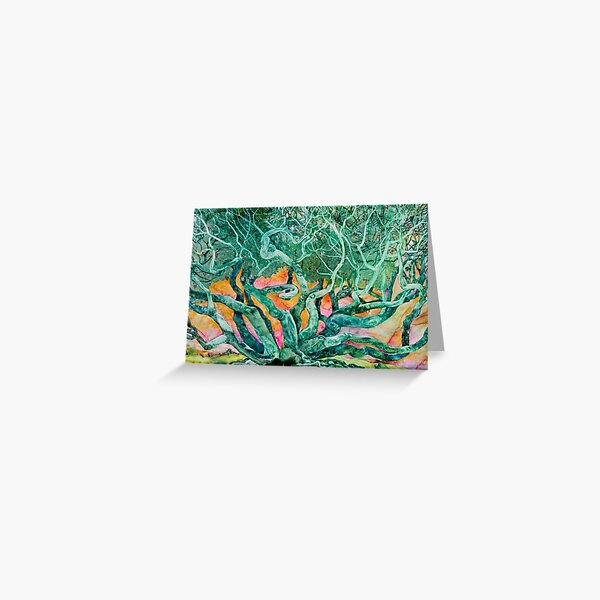 Tangled: Emerald Tree with Pink and Orange Sunrise Background Greeting Card