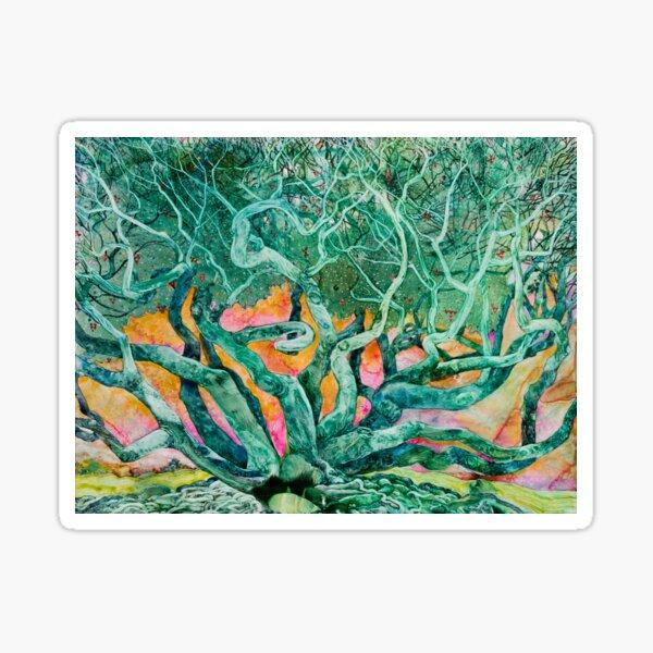 Tangled: Emerald Tree with Pink and Orange Sunrise Background Sticker
