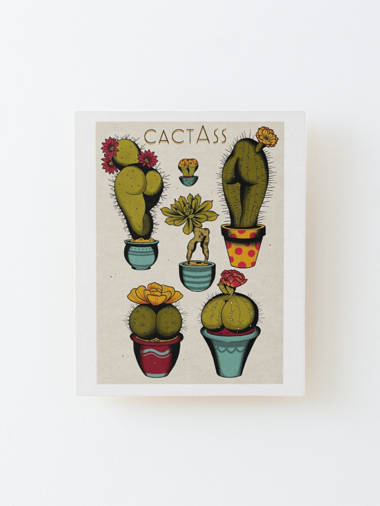 Alternate view of CactAss tattoo flash Mounted Print