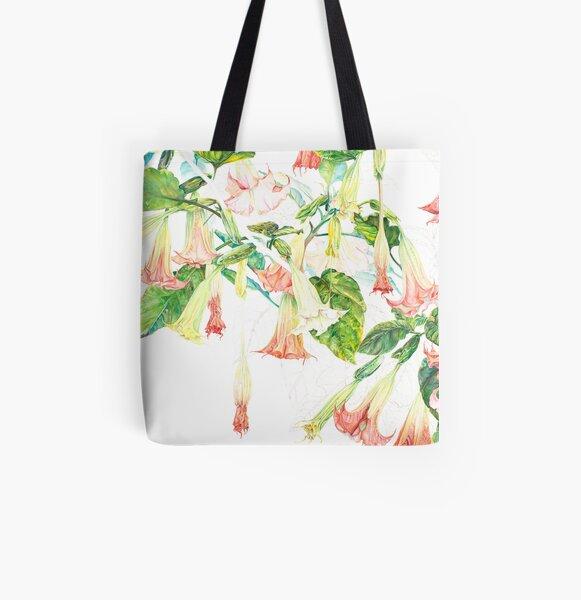 Pink Brugmansia Floral Watercolor All Over Print Tote Bag