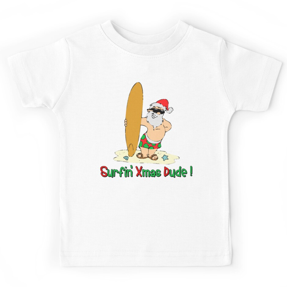 Funny christmas t shirt surfing santa claus kids tees for Redbubble t shirts review