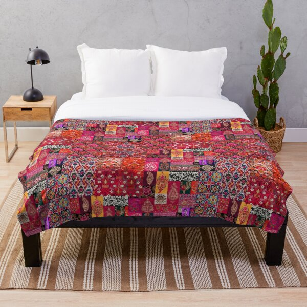 HQ Bohemian Traditional Oriental Moroccan Collage Style Artwork. Throw Blanket