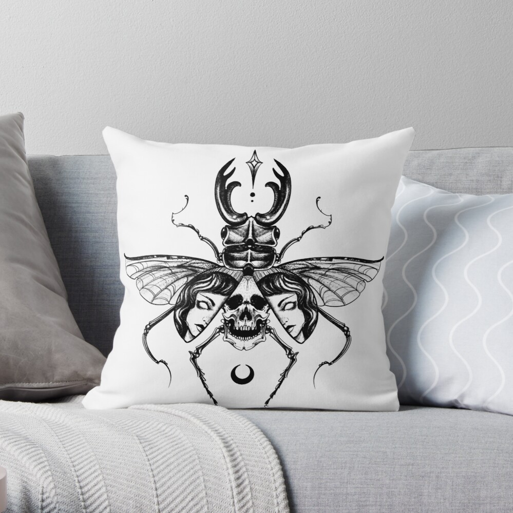 Beetle Lady Throw Pillow By Alessia E Redbubble