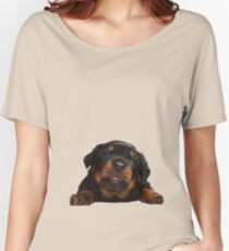 Cute Rottweiler With Tongue Out Isolated Women's Relaxed Fit T-Shirt