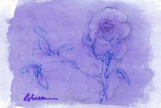 """""""Delicate"""" - mixed media watercolor painting of a Rose by Rebecca Rees"""