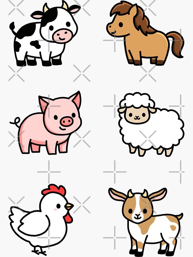 Farm Animal Sticker Pack by littlemandyart