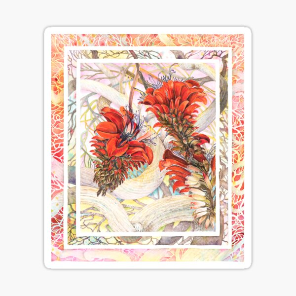 Coralflowers Watercolor Painting Sticker