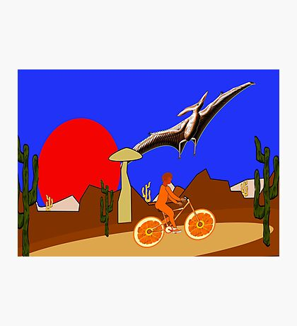 A Pterodactyl and an Orange Bicycle Photographic Print