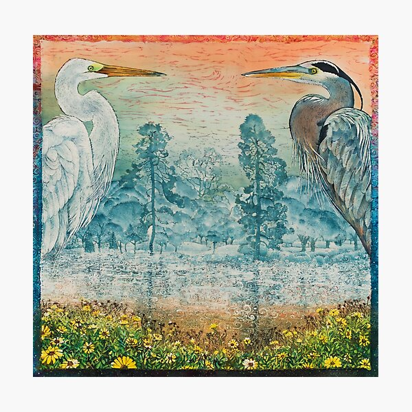 Heron and Egret with Wildflowers Photographic Print