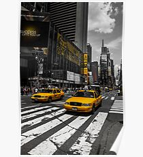 Yellow Cabs cruisin on the Time Square Poster
