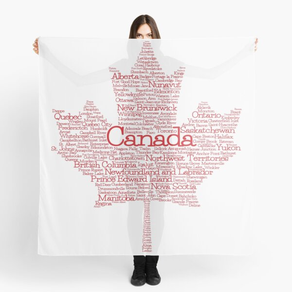 Canadian Places Maple Leaf Word Cloud Scarf
