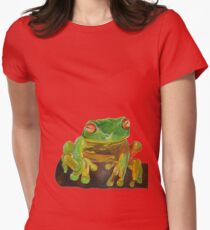 Cute Red Eyed Tropical Tree Frog Womens Fitted T-Shirt