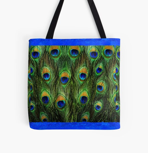 Peacock Feathers and Indigo Velvet All Over Print Tote Bag