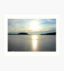 Herrestadsjön in winter season Art Print