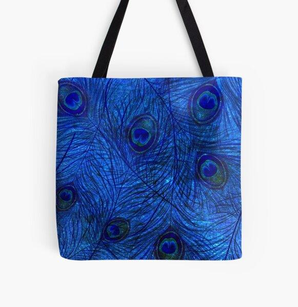 Indigo Peacock  All Over Print Tote Bag