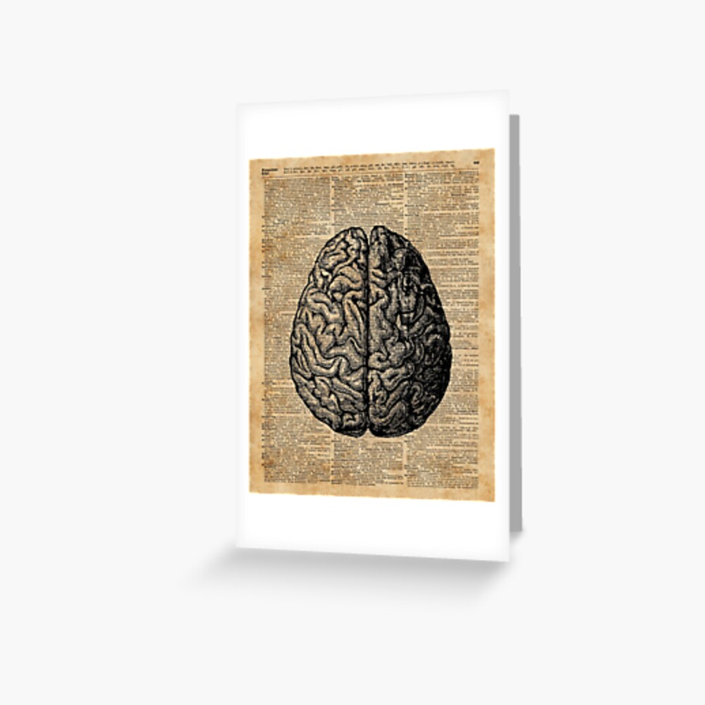 Weinlese-menschliche Anatomie-Gehirn-Illustrations-Wörterbuch-Buch-Seiten-Kunst Grußkarte