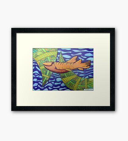 363 - SHARK DESIGN - DAVE EDWARDS - COLOURED PENCILS - 2012 Framed Print