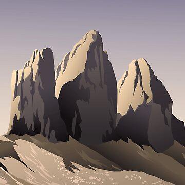 Tre cime di Lavaredo at sunset by elenab