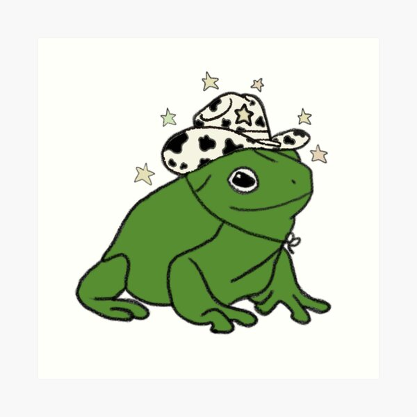 Frog in a top hat with monocle in a mushroom field art print