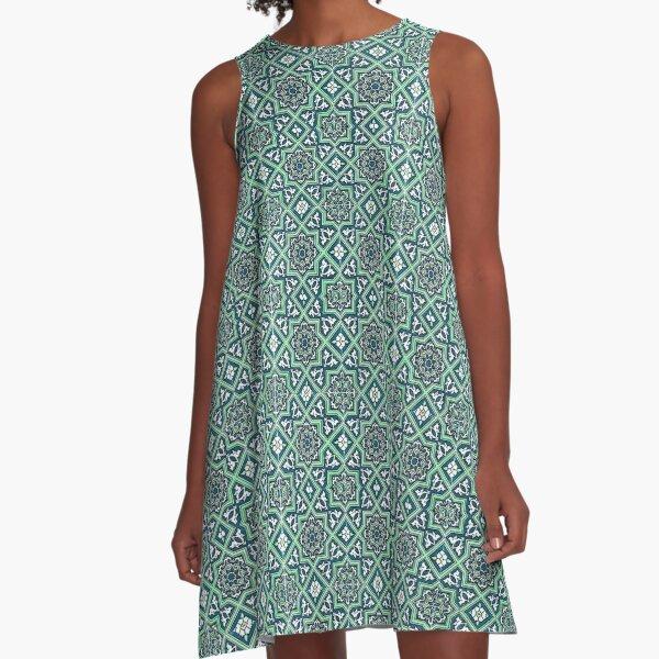 Azulejo, Geometric Pattern A-Line Dress