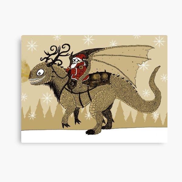Antlered Dragon & Santa Canvas Print
