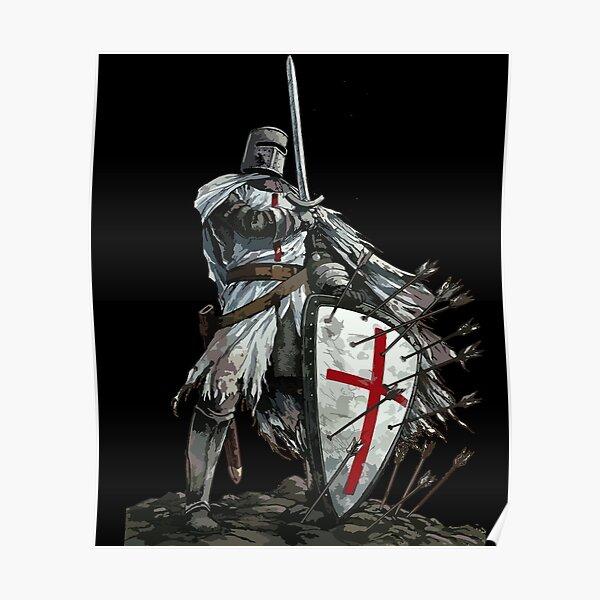 Templar Shield Cross Medieval Warrior Sword Knights Templar Armor Helmet Emblem  Poster