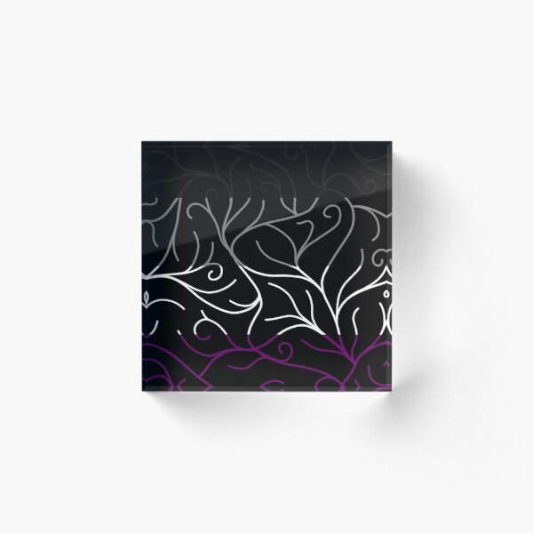 Black Velvet, Asexual Flag Vines Acrylic Block