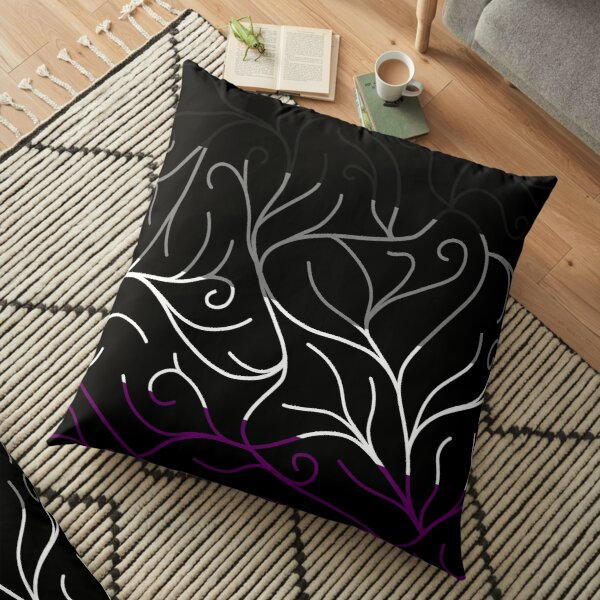 Black Velvet, Asexual Flag Vines Floor Pillow