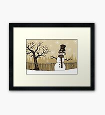 Snowman with goggles Framed Print
