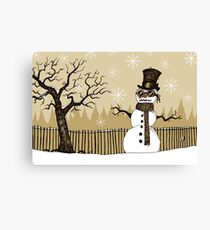 Snowman with goggles Canvas Print