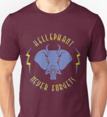 Hellephant - Impale Blue on Dark Red T-Shirt