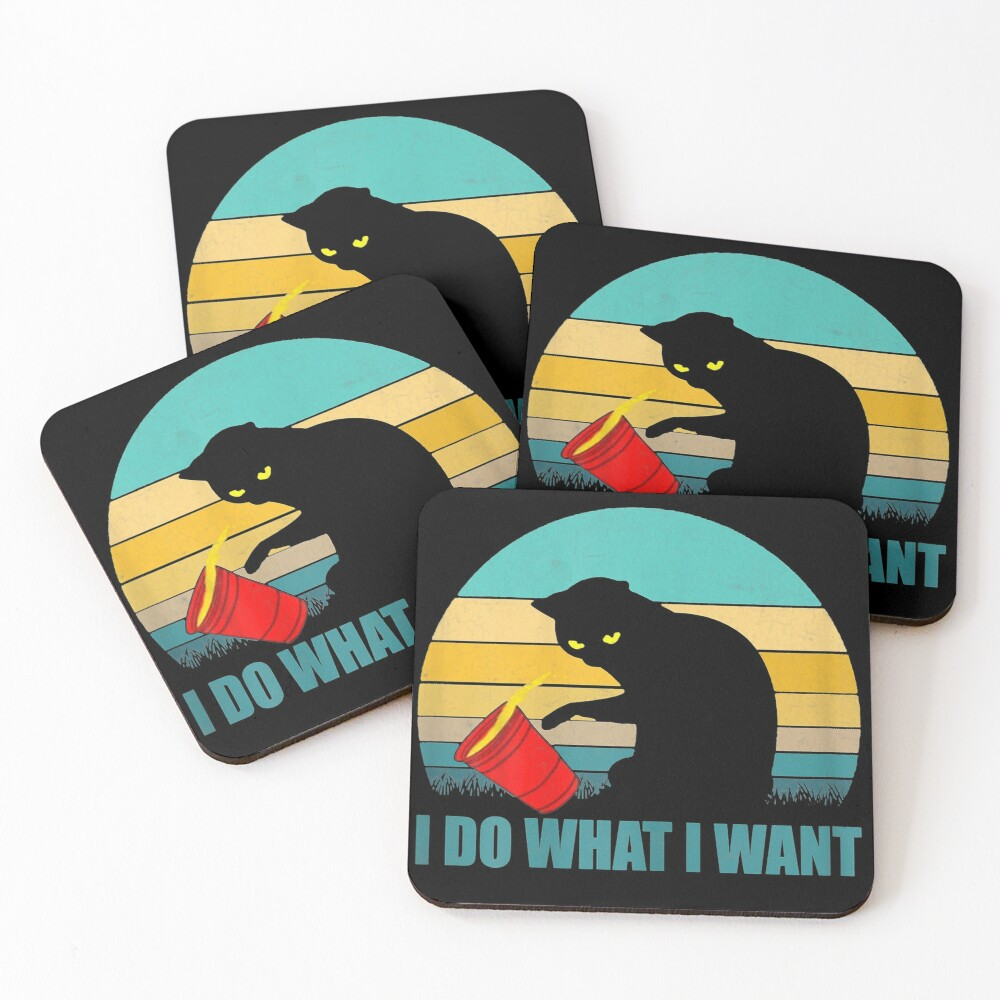 I do what I want red cup cat tshirt and gifts Coasters (Set of 4)