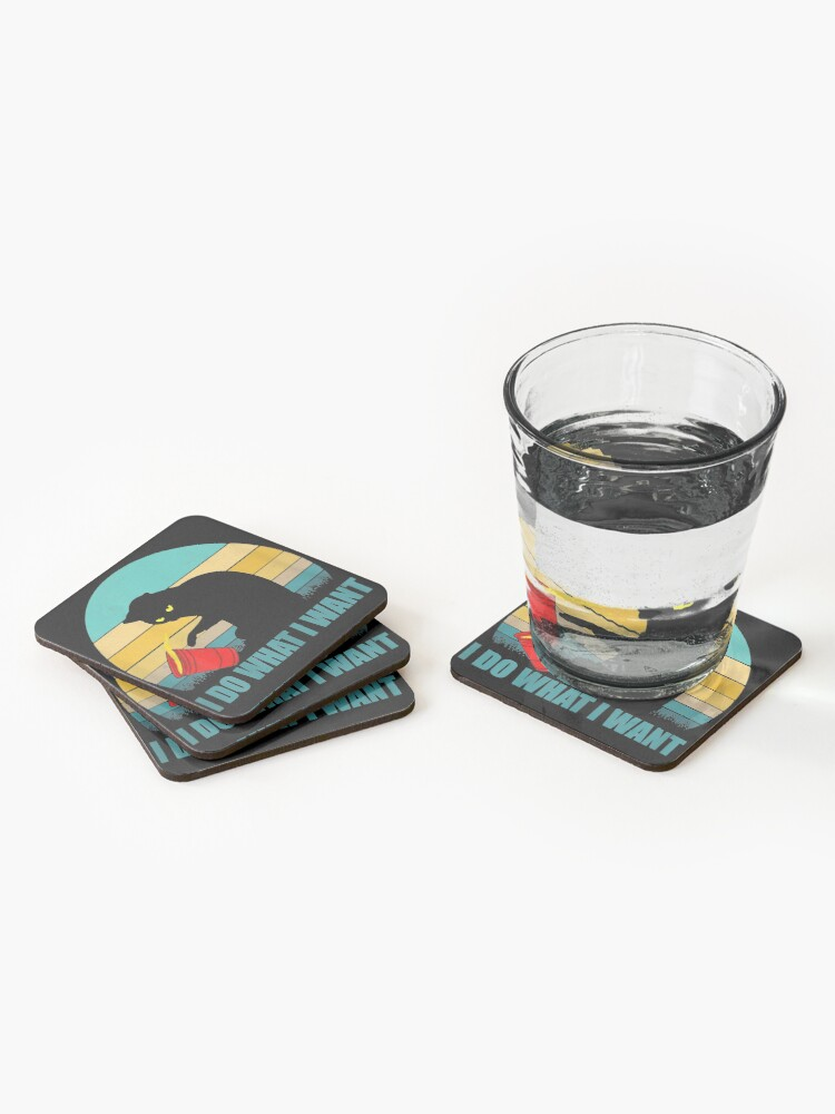 Alternate view of I do what I want red cup cat tshirt and gifts Coasters (Set of 4)