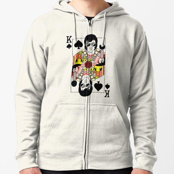Carte à jouer de style Elvis Presley Vegas Veste zippée à capuche