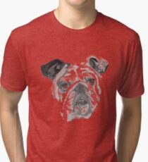 Portrait Of An American Bulldog In Black and White  Tri-blend T-Shirt