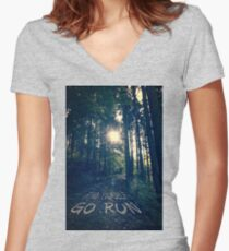 Find Yourself Go Run No. 6 - Forest with Sun Flare Women's Fitted V-Neck T-Shirt