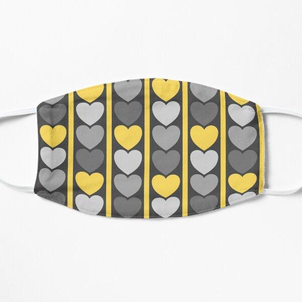 Grey and Yellow Hearts Pattern Flat Mask