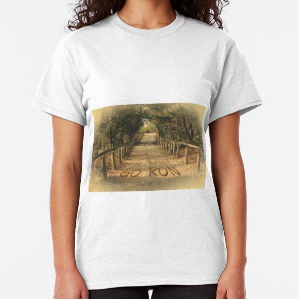 Find Yourself Go Run Motivational Dirt Road Classic T-Shirt