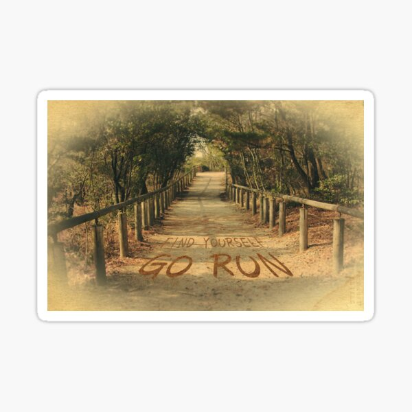 Find Yourself Go Run Motivational Dirt Road Sticker